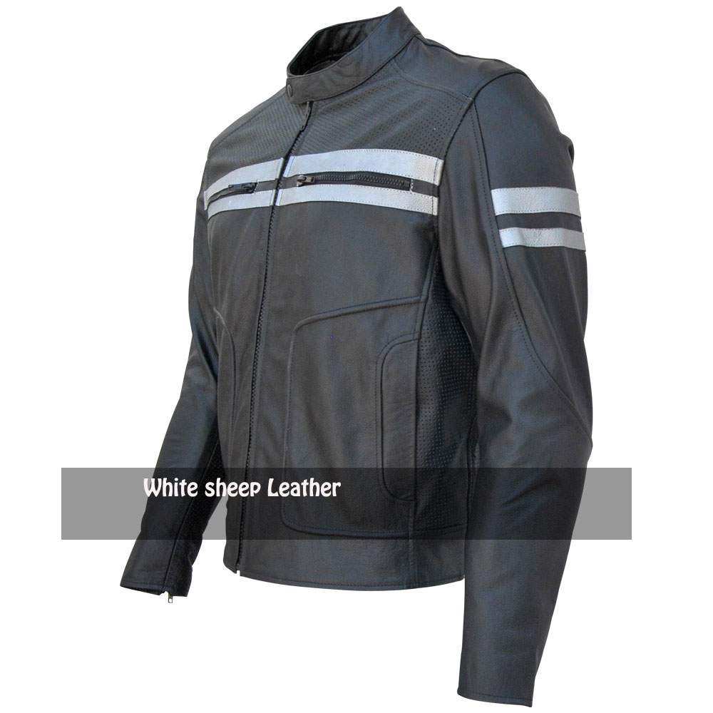 Men's Classic Stripe Motorbike Leather Jacket