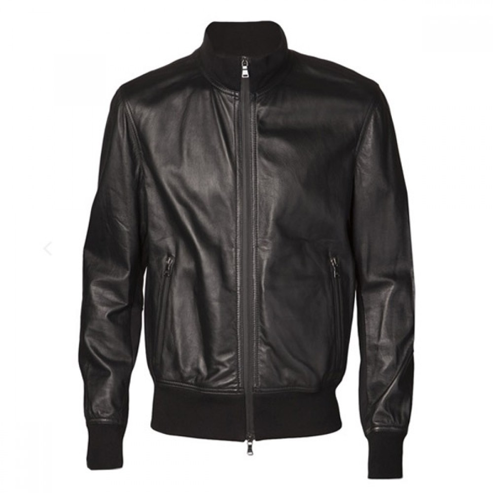 Trendy Men's Bomber Black Leather Jacket