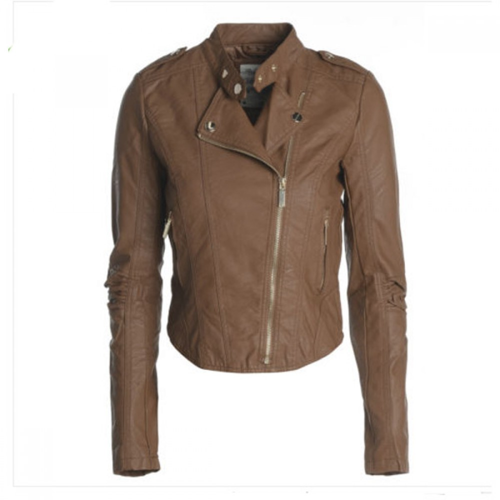 Designer Men Brown Biker Leather Jacket
