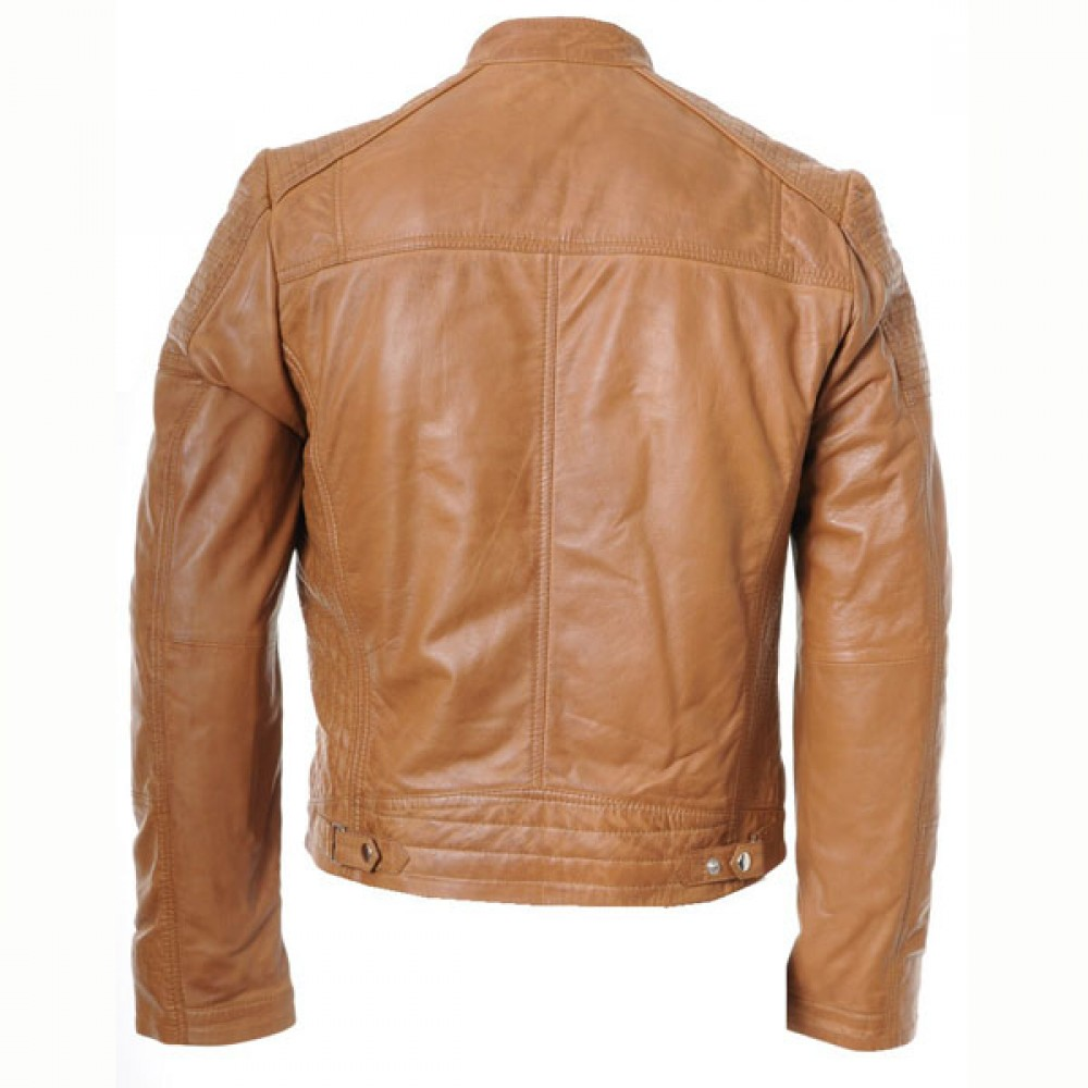 Men's Classic Biker Leather Jacket With Quilted Panels
