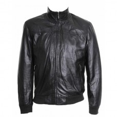 Designer Bomber Black Leather Jacket