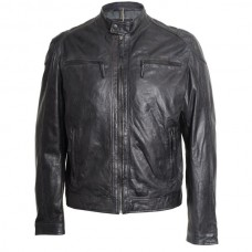 Men's Black Leather Straight Fit Leather Jacket