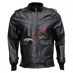 Bomber Black Stylish Leather Jacket