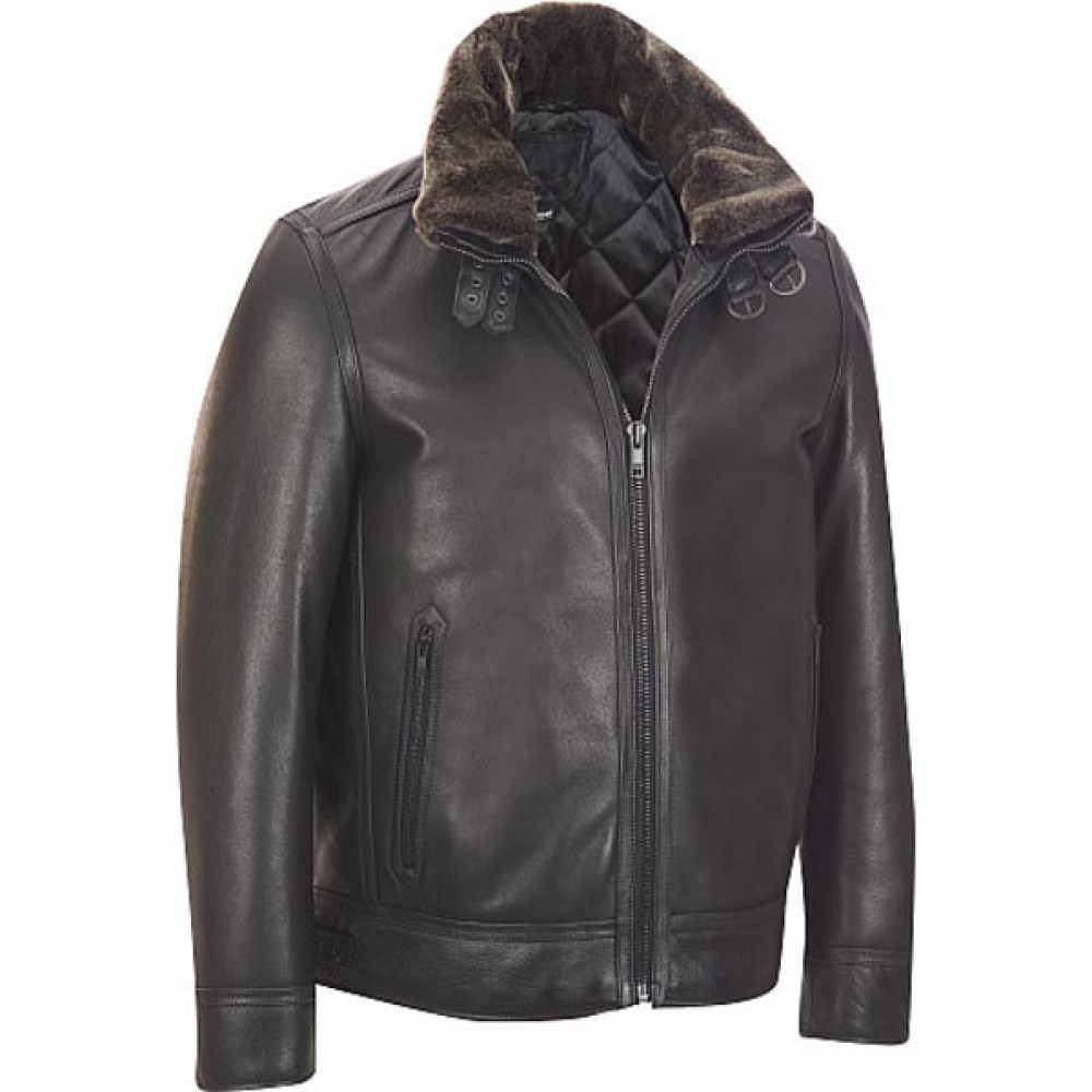 Men's Black Buckle Collar Bomber Leather Jackets