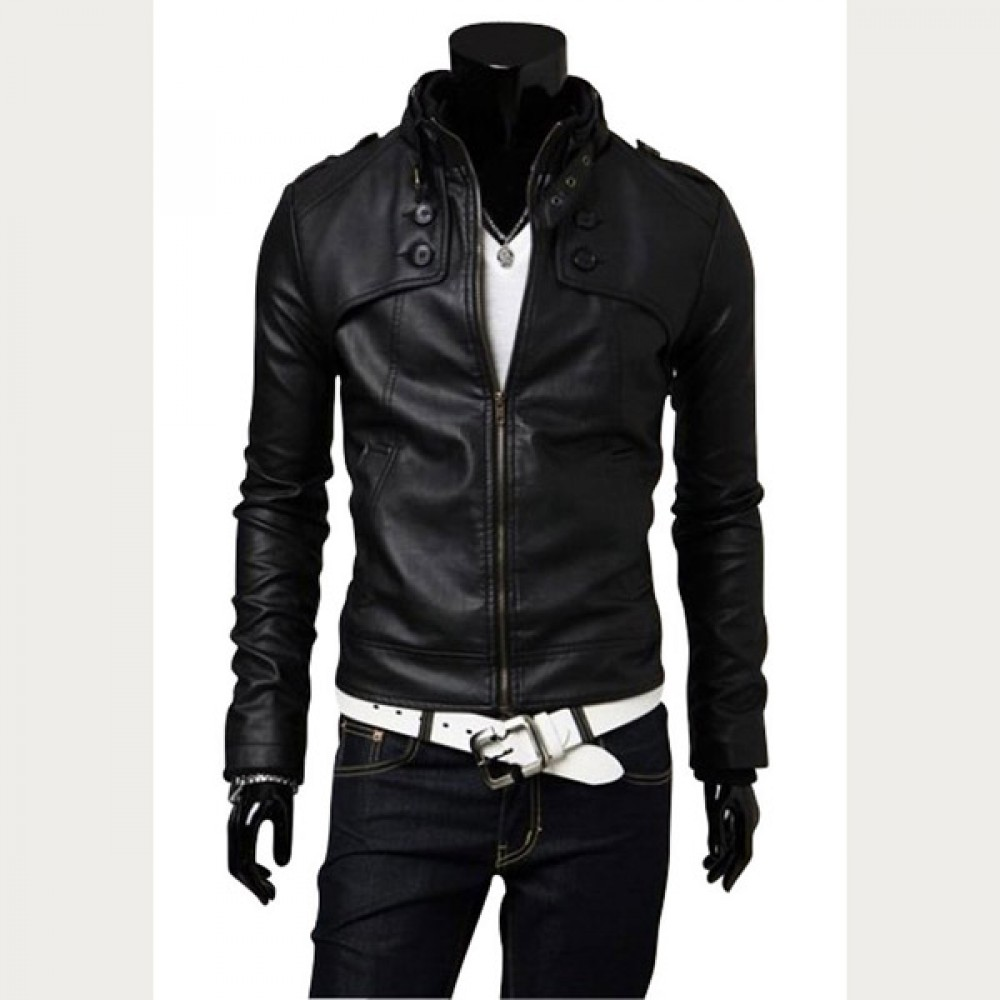 Men Casual Black Slim Fit Leather Jacket