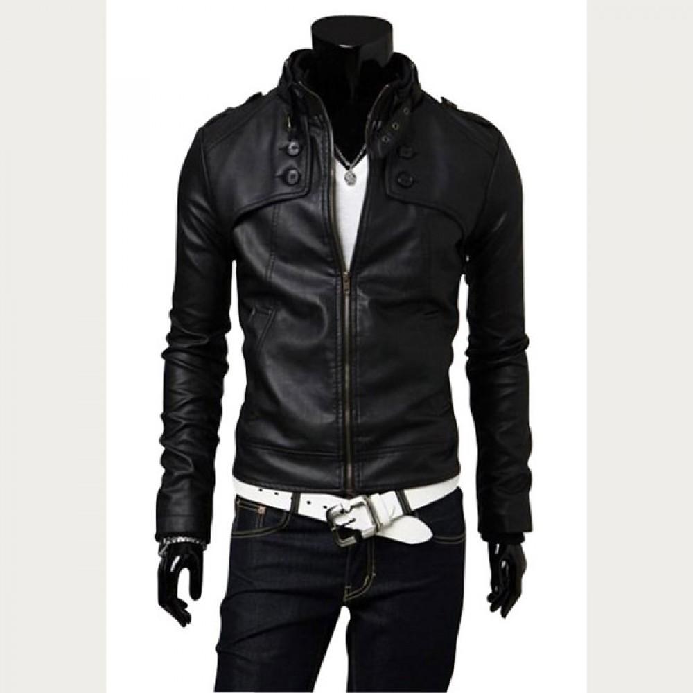 Men Casual Black Slim Fit Leather Jacket