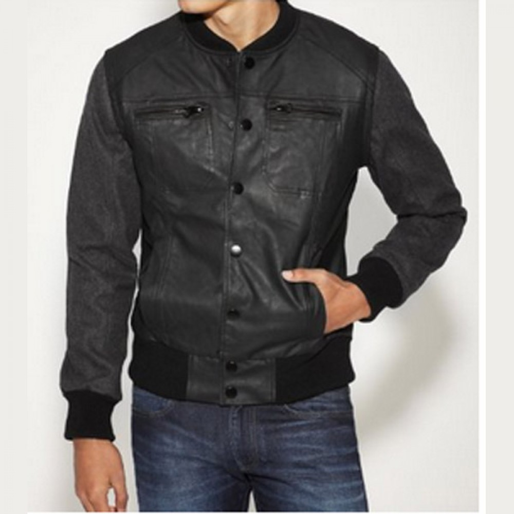 Men Black Collarless Bomber Leather Jacket