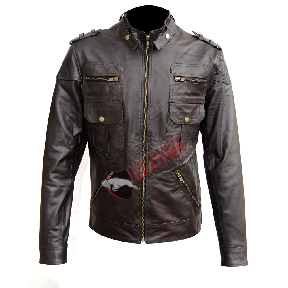Men's Brown Six Pocket Slim Fit Leather Jacket