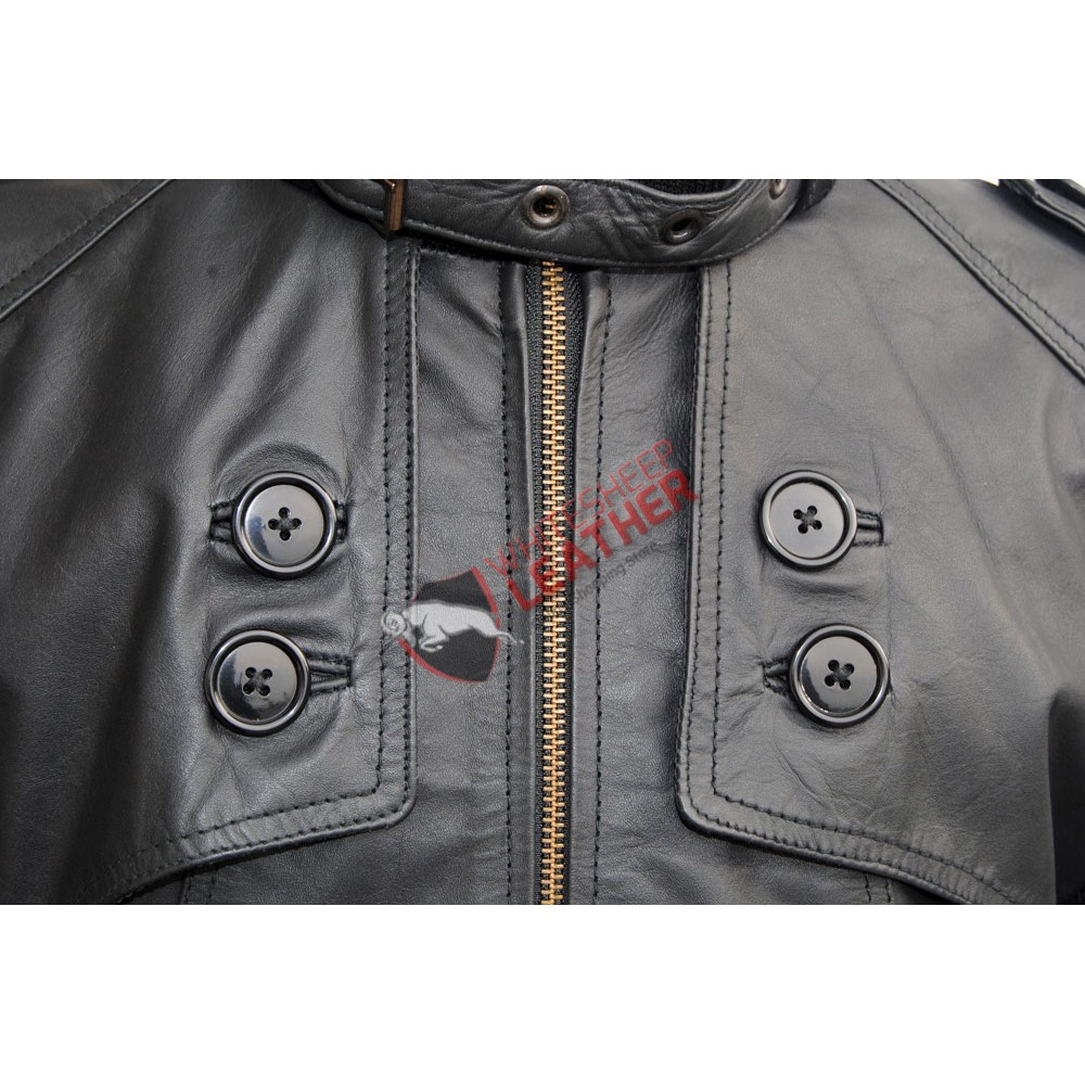 Men's Front Button Panel Slim Fit Leather Jacket