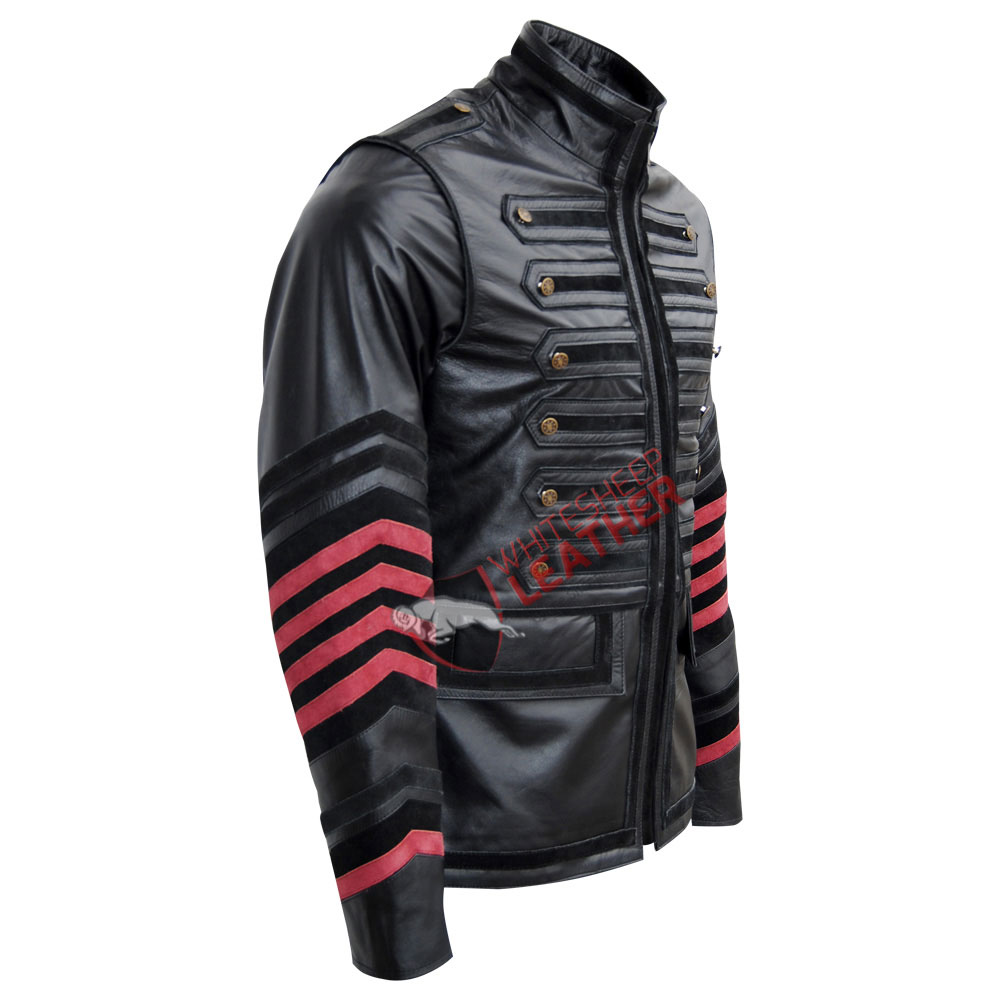 Men's Military Biker Style Leather Jacket