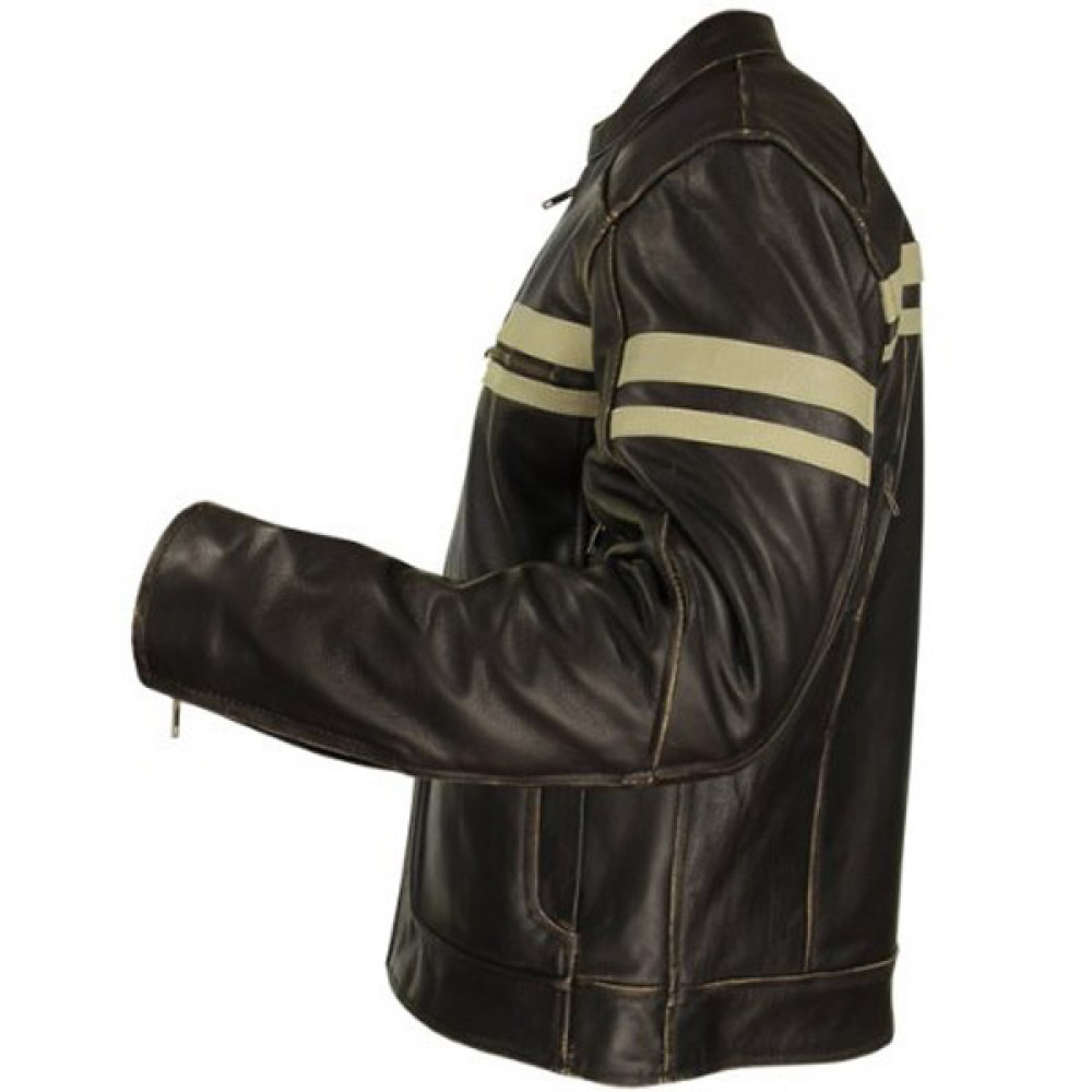 Xelement Men's Brown Leather Cruiser Jacket