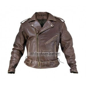 Men's Classic Biker Brown Leather jacket