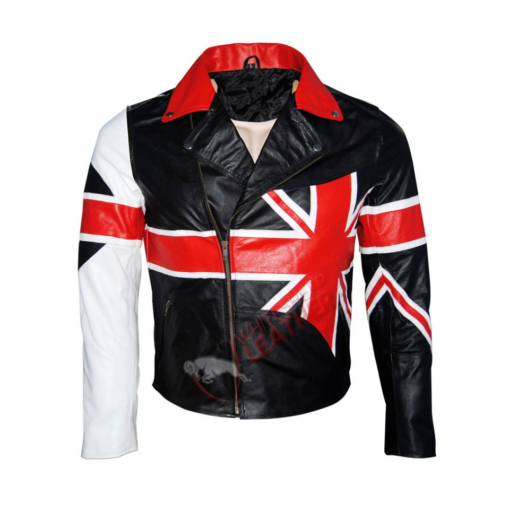 American USA Flag Motorcycle Style Leather Jacket