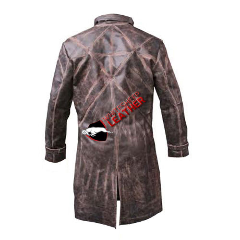 Men Front Double Pocket Black Leather Coat