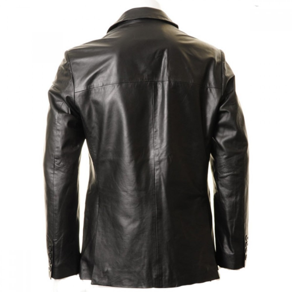 Men's Black Two Button Leather Blazer