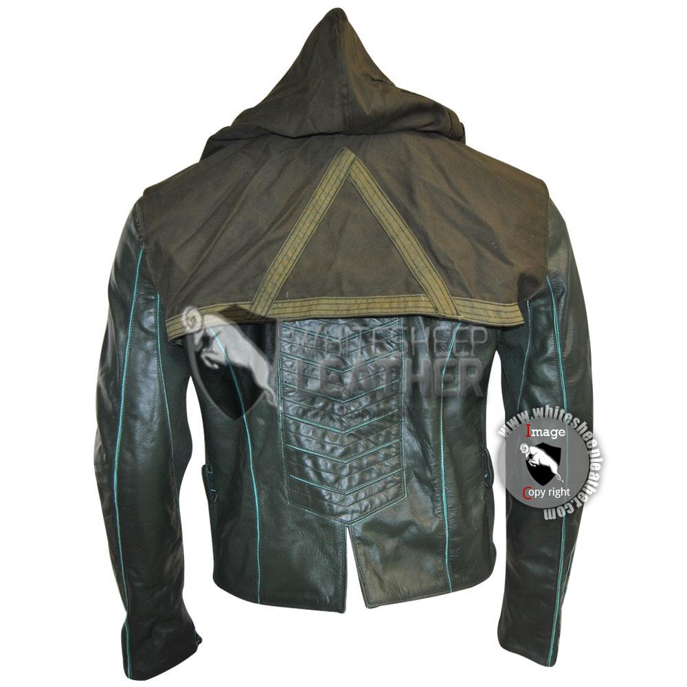 Leather jacket hoodie -  Green Arrow Stephen Amell Leather Jacket Hoodie