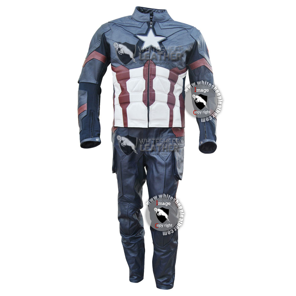 Captain America Civil War Movie Real Leather Full Costume Free