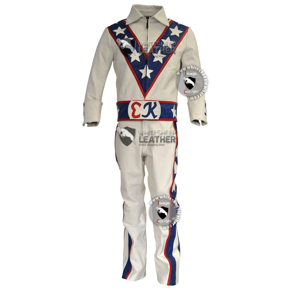 Evel Knievel costume leather suit / Evel Knievel full motorcycle leather suit  (Free Shipping )