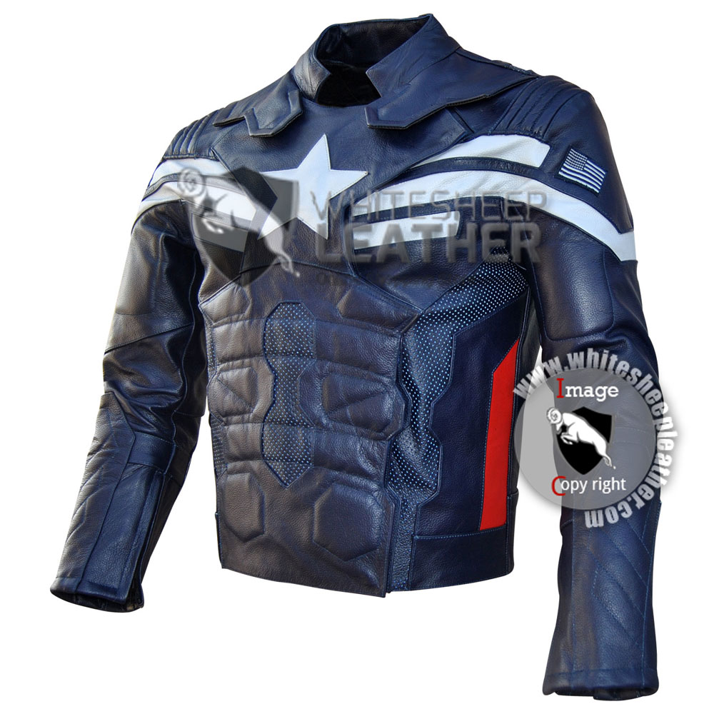 Evans Captain America Motorcycle Real Leather Jacket