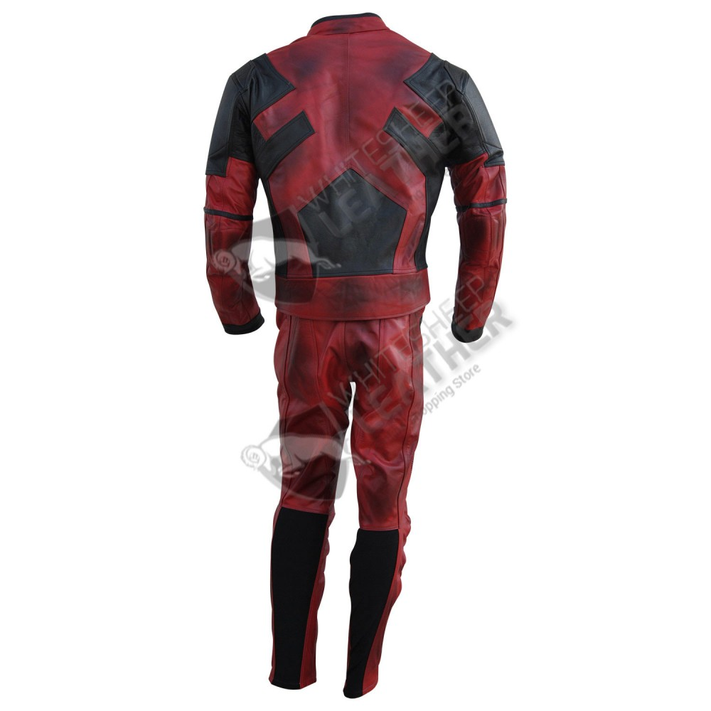 Ryan Reynolds Deadpool Movie Motorcycle Leather Suit Free