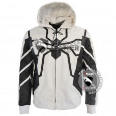 New Men Spiderman leather hoodie