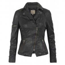 Women Classic Motorcycle Black Leather Jacket