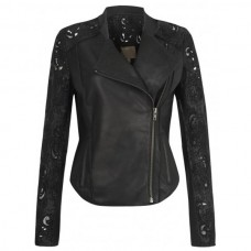 Ladies Collarless Biker Black Leather Jacket