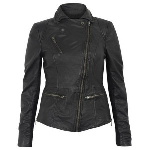 Women Stylish Collar Black Leather Jacket