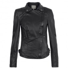 Women Front Zipper Black Leather Jacket
