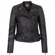 Ladies Black Quilted Shoulders Leather Jacket