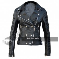 Ladies Brando Slim Fit Black Leather Jacket