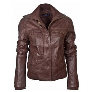 Ladies Brown Bomber Leather Jacket