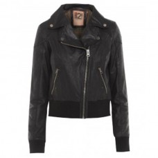 Ladies Black Bomber Motorcycle Leather Jacket