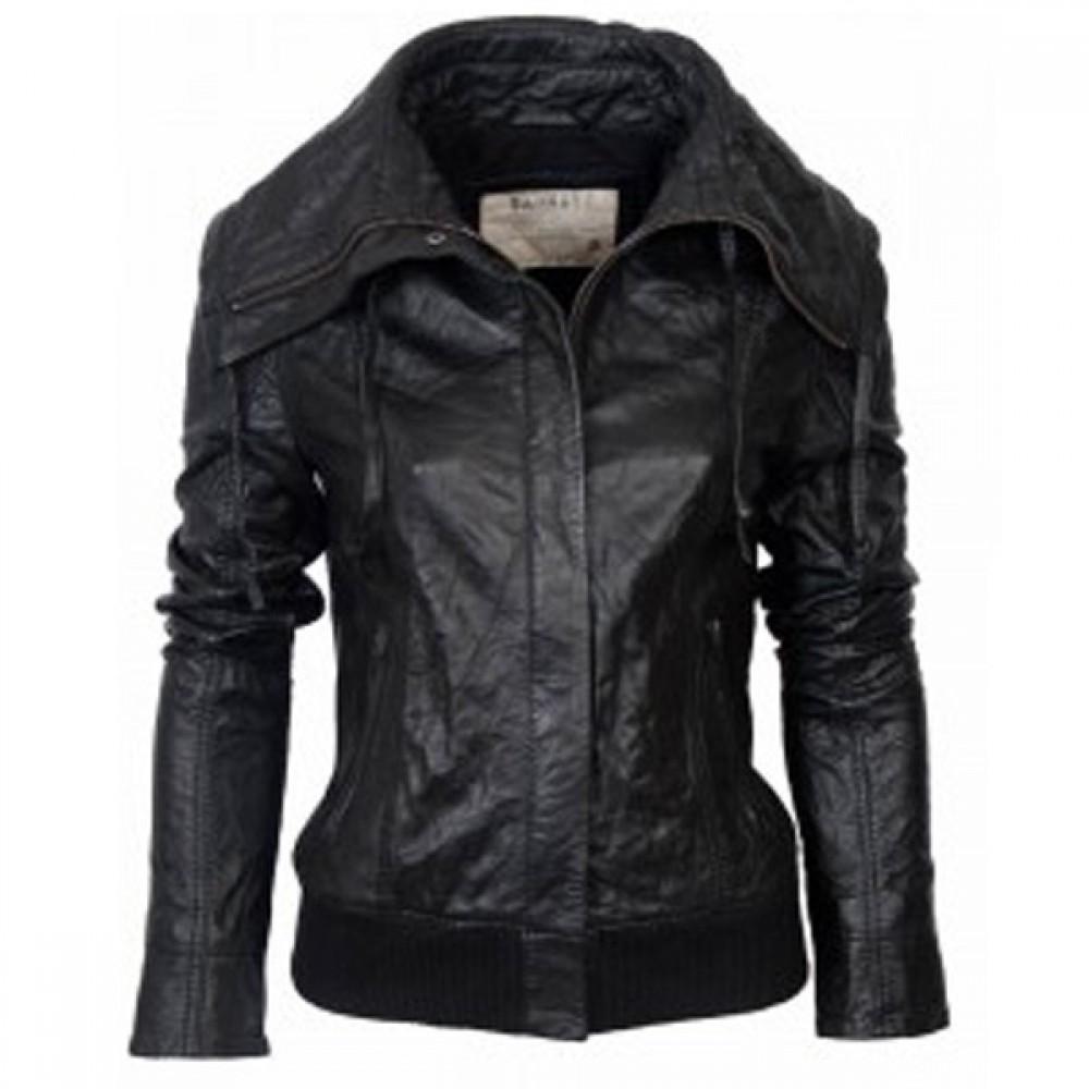 515f759bc80 Ladies Black Classic Bomber Leather Jacket