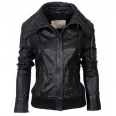Ladies Black Classic Bomber Leather Jacket