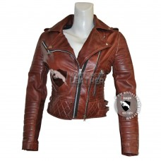 Designer Women's Brown Brando sheep leather Jacket