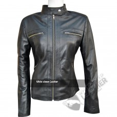 Women Black Perforated Style Leather Jacket