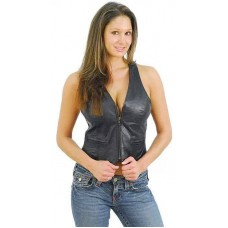 Women Black Stylish Genuine Leather Vest