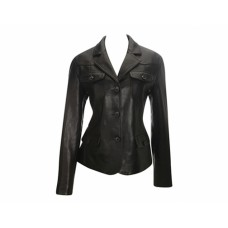 Women Designer Black Leather Blazer