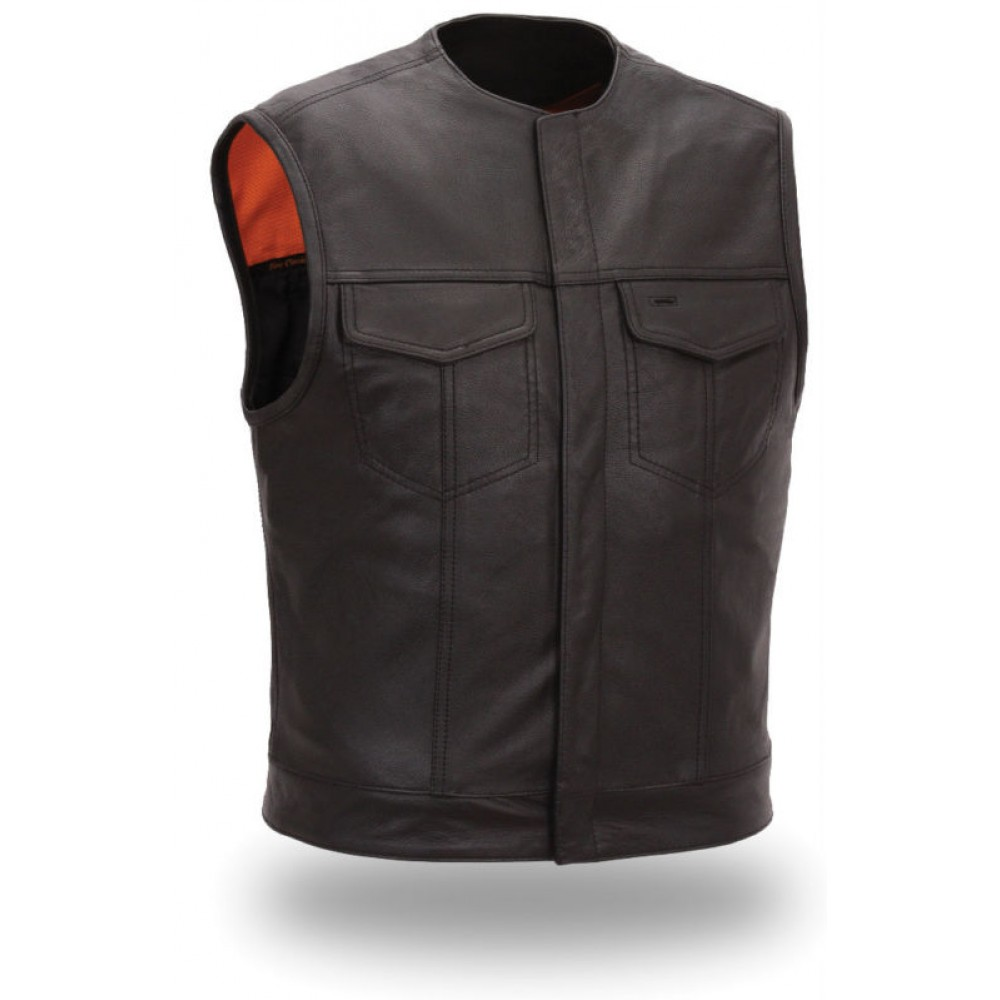 Men Two Front Flap Pockets Black Leather Vest