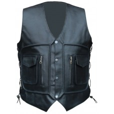 Casual Men Black Four Pocket Leather Vest