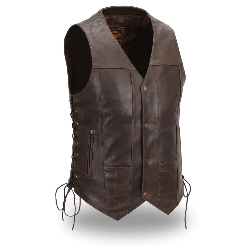 Men Brown Genuine V shape Leather Vest