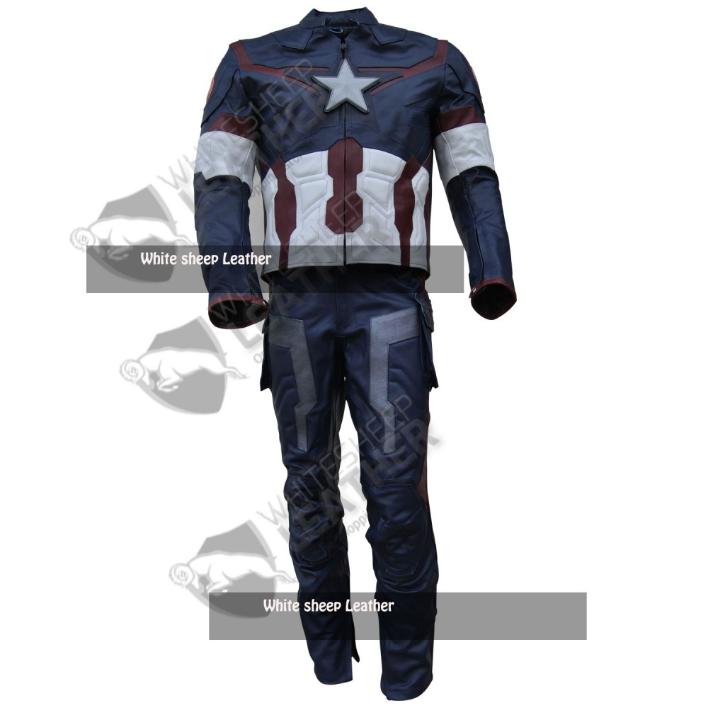 Avengers 2 Captain America Real Leather Coustume Free Shipping