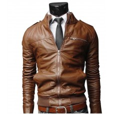 Men Brown Bomber Slim Fit Leather Jacket