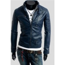 Men's Slim Fit Navy Blue Pu Leather Jacket