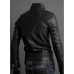 Men Double Button Slim Fit Black Leather Jacket