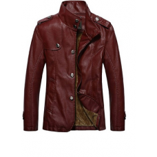 Ladies Slim Fit  Dark Red Leather Jacket