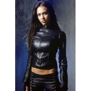 Jessica Alba Women Black Leather Jacket