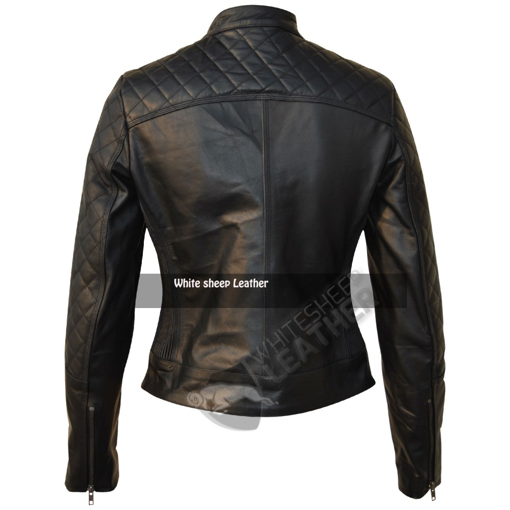Women Quilted Biker Black Leather Jacket
