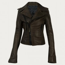 Women Fashionable Brown Leather Jacket